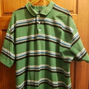 Mens green striped shirt 3x